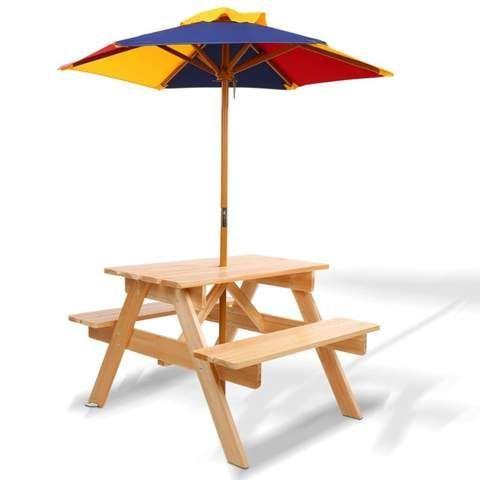 Keezi Kids Wooden Picnic Table Set With Umbrella Wooden Picnic