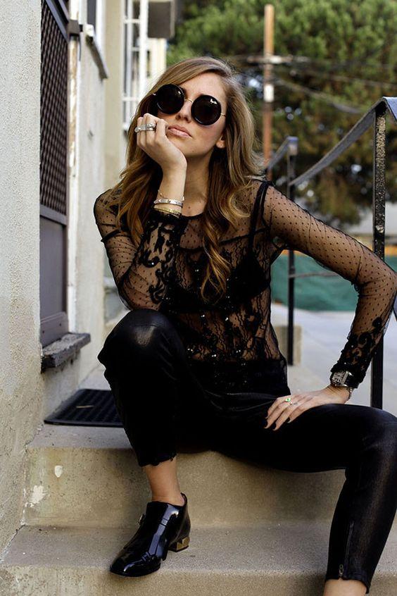 Tendencia lencera Otoño-Invierno 2013/2014 Chiara Ferragni transparencias Guess gafas redondas