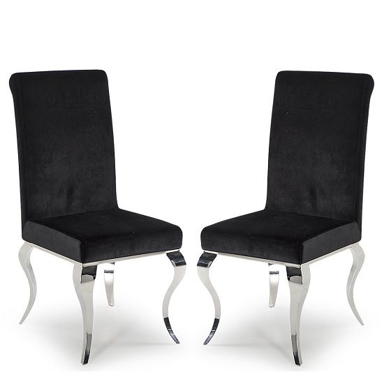 Bolero Dining Chairs In Black Velvet With Metal Legs In A Pair