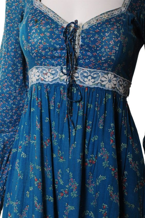 Gunne Sax blue calico floral with gold accents and lace.