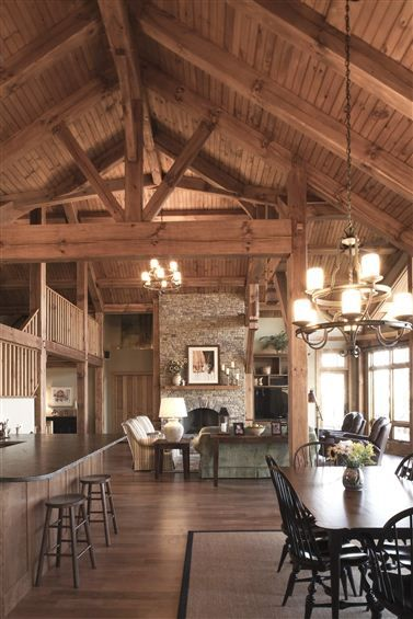 Pinterest the world s catalog of ideas for Open concept post and beam house plans