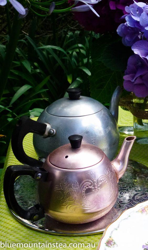 Family tea pots, high tea for two, www.bluemountinai..., Blue Mountains Australia. Aussie High Tea.