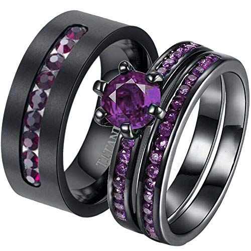 Cool Ringheart 2 Rings His And Hers Couple Rings Black Gold Filled