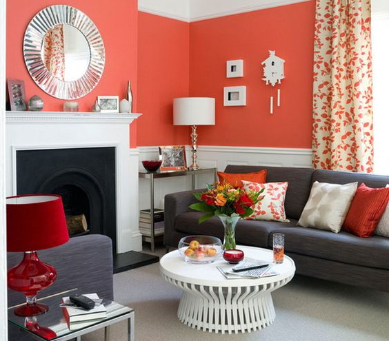 Another Orange And Grey Living Room. Via Http://Www.Zunetop.Com