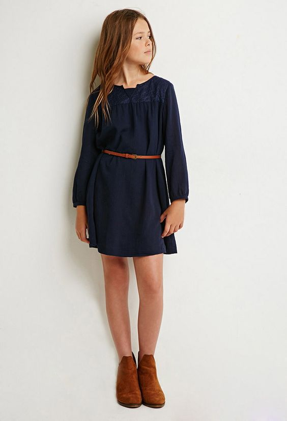 Lace-Paneled Shift Dress (Kids) | Forever 21 girls - 2000143119