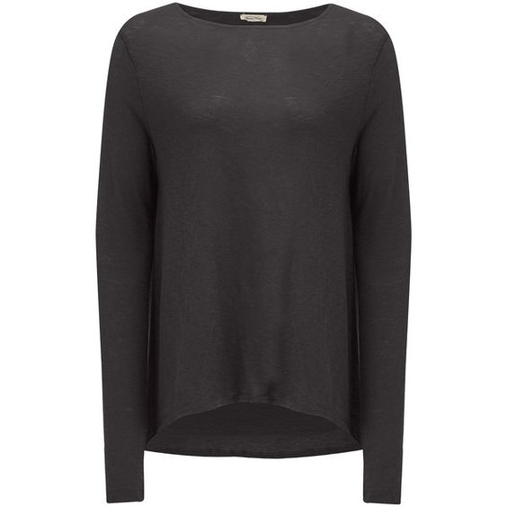 American Vintage Lorkford Long Sleeve Tee - Carbon ($59) ❤ liked on Polyvore featuring tops, t-shirts, carbon, long sleeve tees, long sleeve t shirts, american vintage t shirts, cotton t shirts and cotton tee