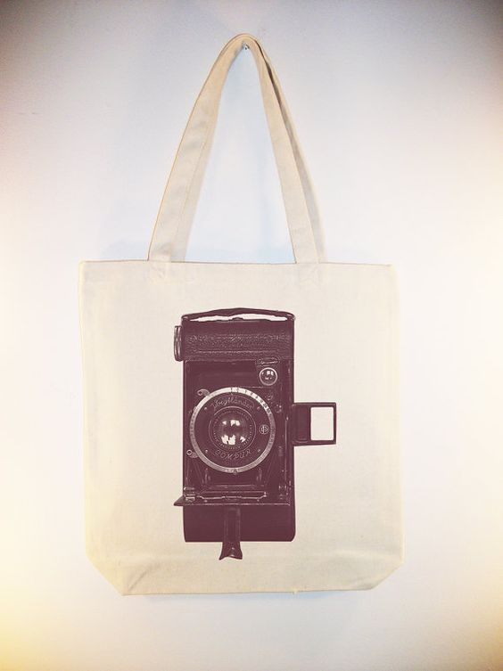 Vintage Camera Image on 15x15 Canvas Tote  by Whimsybags on Etsy, $12.00