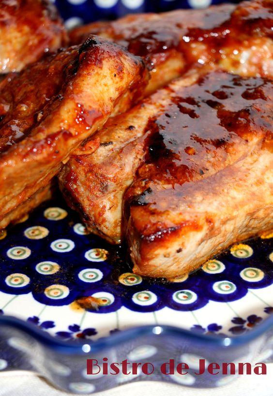 Travers de porc mariné et grillé