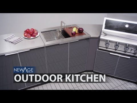 Newage Outdoor Kitchen 4 Piece Set With 33 Inch Insert Grill Cabinet Sink And Bar Center Slate G Outdoor Kitchen Outdoor Kitchen Cabinets Kitchen Solutions