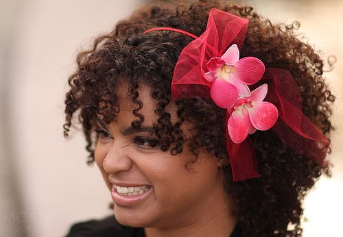 Red Orchid Headband for Natural Hair by BoutiqueDeBandeaux on Etsy  #NaturalHair #Curly #Accessories
