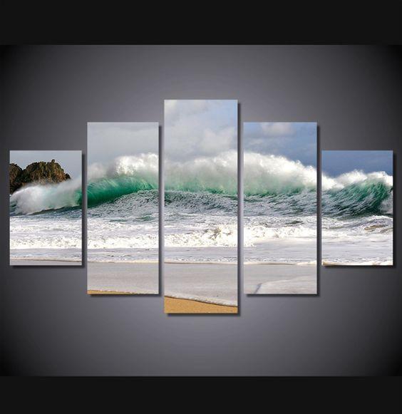 5 pieces multi panel modern home decor framed beach wave for Beach wall mural cheap