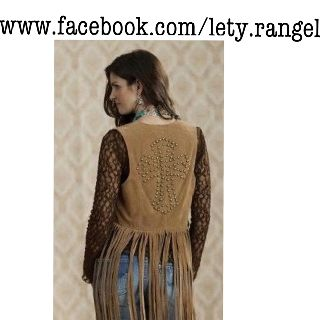 Fringe vest with studded cross available at www.facebook.com/lety.rangel