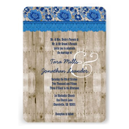 Rustic Style Wood Texture and Stencil Wedding V25L Personalized  Invitation/... #rustic #wedding #fall #autumn #barn #lace #burlap