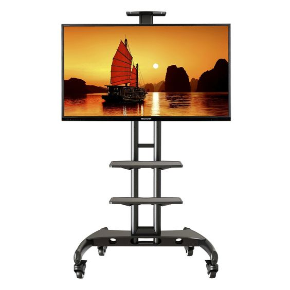 North Bayou Universal Mobile TV Cart TV Stand with 2 AV Shelves and Mount for 40-60 inch [fits 32''- 65 inch] LED, LCD, Plasma, and Curved Display max up to 100 lbs
