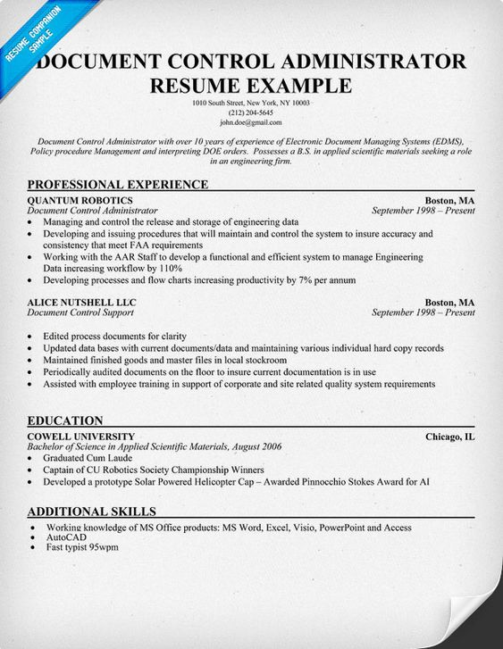 Document Control Administrator Resume #Help (resumecompanion.com .  Document Control Resume
