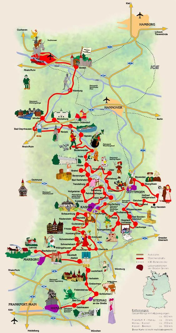Germany's Fairy Tale Road. A Grimm fairy tales map takes you to all the different towns related to the wonderful tales of the Brothers Grimm.  For more details see http://en.wikipedia.org/wiki/German_Fairy_Tale_Route: