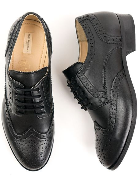 Will's Vegan Shop City Wingtip Brogue Oxfords Schwarz Herren
