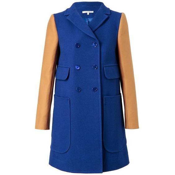 CARVEN Colour-Blocked Cotton Coat ($820) ❤ liked on Polyvore