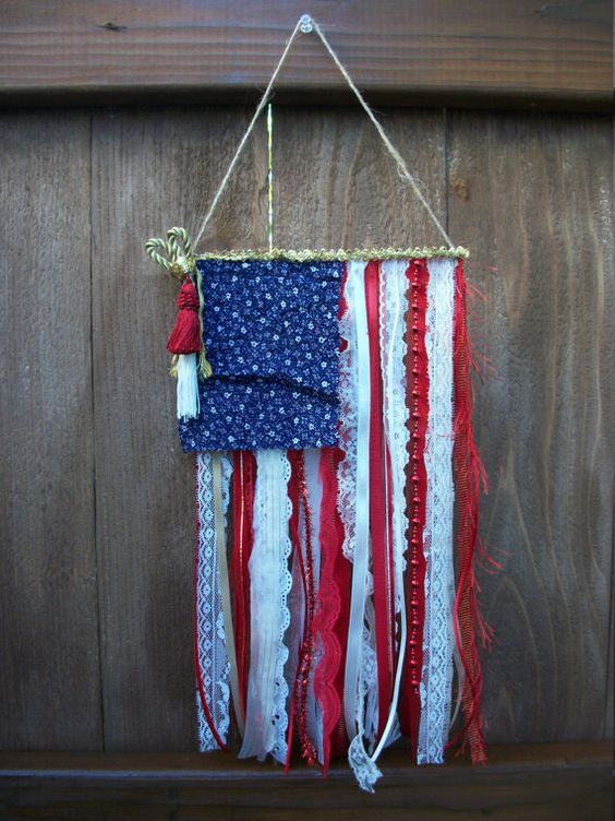 American Ribbon Flag Usa Flag Banner Decor Lace Ribbon Boho Gypsy Door Hanger Stars Amp Stripes
