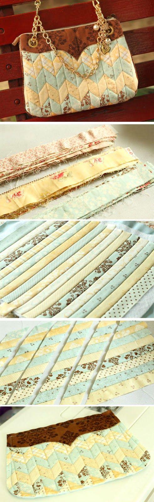 Patchwork Bag. Photo Sewing Step by step Process.  http://www.handmadiya.com/2016/02/bag-of-fabric-strips.html