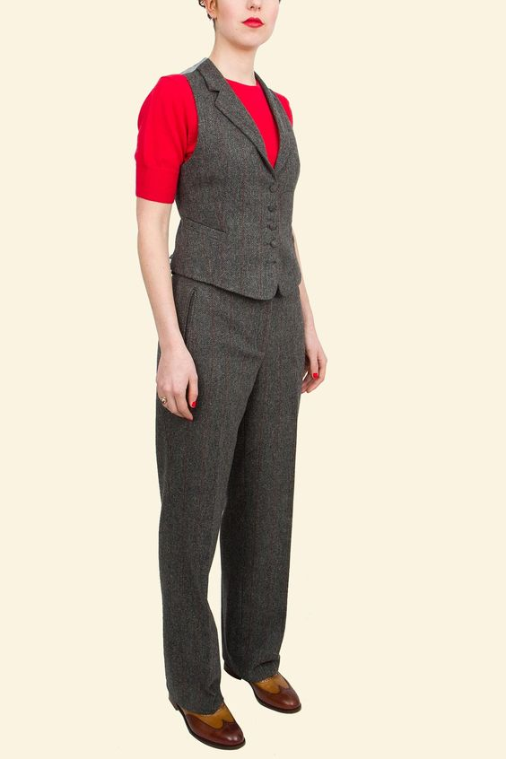 Iona Trouser and Waistcoat : Grey with Red Windowpane Shetland Tweed    Walker Slater Tweed Specialists