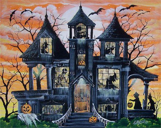 Halloween Folk Witch Art Print Haunted House Ghost by sunbyrum, $10.99