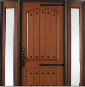 Architect series rustic fiberglass entry door with clavos for Energy efficient entry doors