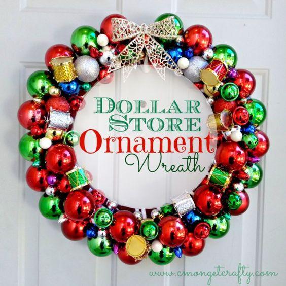 Dollar Store Ornament Wreath