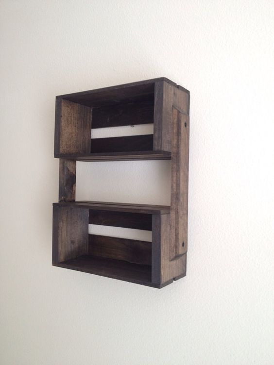 Small wooden crate hanging shelf wall fixture shelves for Decorative wall shelves for bedroom