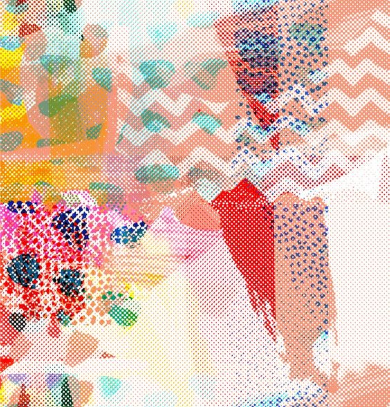 Melanie Bowles: a designer, researcher, writer and lecturer at Chelsea College of Art and Design. I have been enjoying recreating 'old school' printing effects inspired by Post Modernism, Half tone, photocopy and overlays techniques to create a hand screen printed look.
