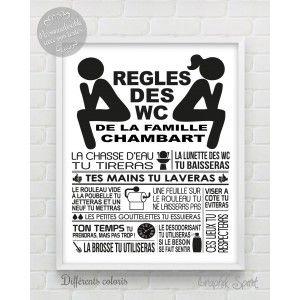 Tableau Affiche Personnalisé Règles Des Toilettes Wc