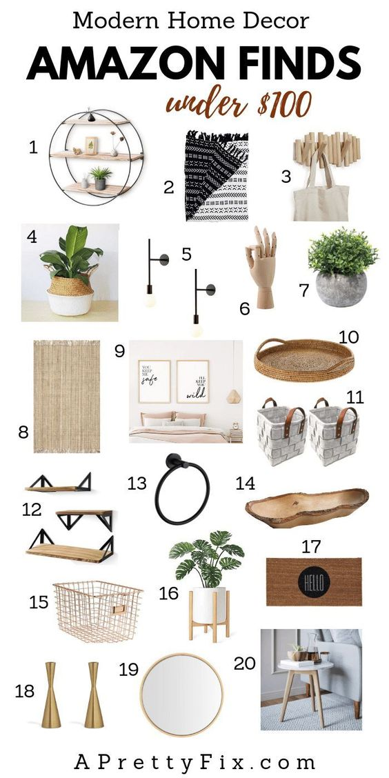 Want a fresh and modern farmhouse update at home this season? Get a Pinterest-worthy look with these modern home decor finds on Amazon under $100. From throws to candle holders to wall decor and more, add some modern rustic charm to your living room, bedroom, or entryway. Click through for the source list. #homedecor #amazon #homedecorlivingroom #homedecorbedroom #homedecorbathroom #homedecoraccessories