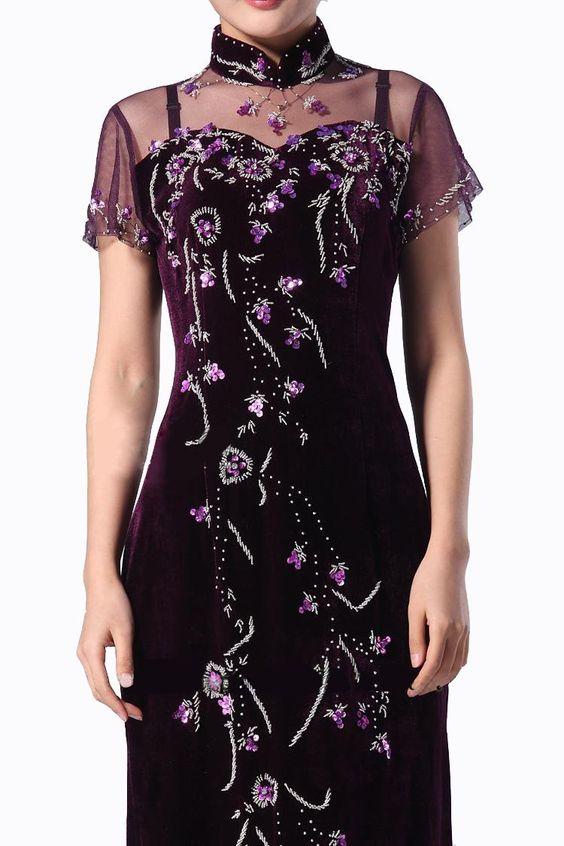 Luxurioes Samt Cheongsam Qipao Abend Hochzeit Kleid - Kostenlos Auftragsfertigen #105 - FREIE FRACHT: Amazon.de: Bekleidung