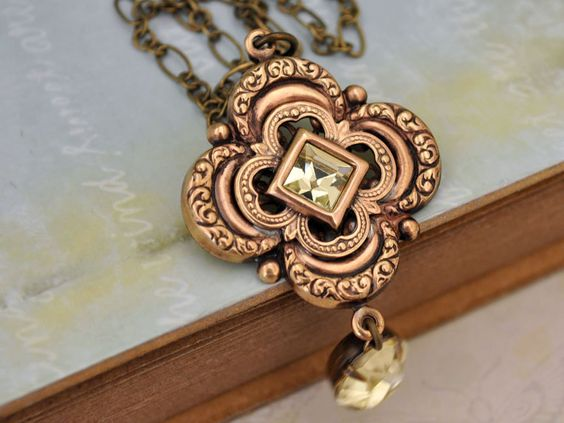 HONEY DROP,  antiqued brass Victorian style floral necklace vintage glass jewels