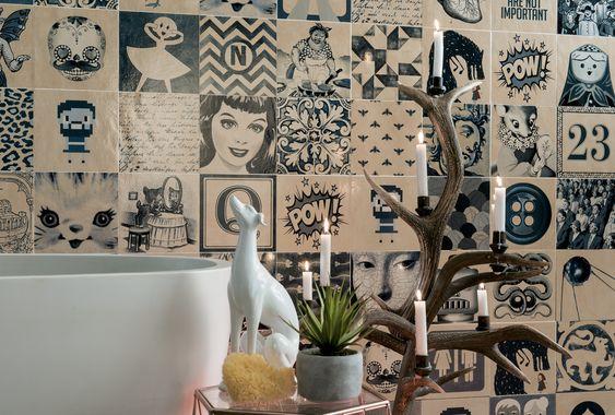 Vem säger att klassisk blåvitt kakel också måste ha klassiska mönster? Här tolkas konceptet om genom att använda sig av pop-art och andra trendiga tryck.