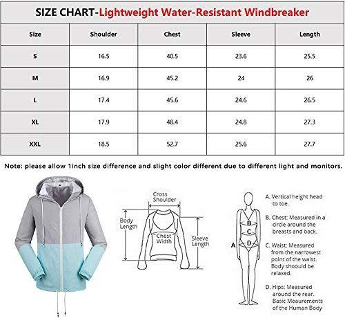 Womens Windbreaker Water Resistant Raincoat Lightweight Outdoor Hooded Rain Jacket Size Chart Women S Windbreaker Womens Windbreaker Waterproof Jacket Women