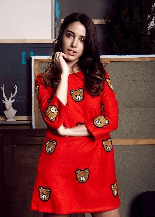 Comprar vestido rojo Philippa and Co - Vestido manga larga color rojo bordado con ositos marrones