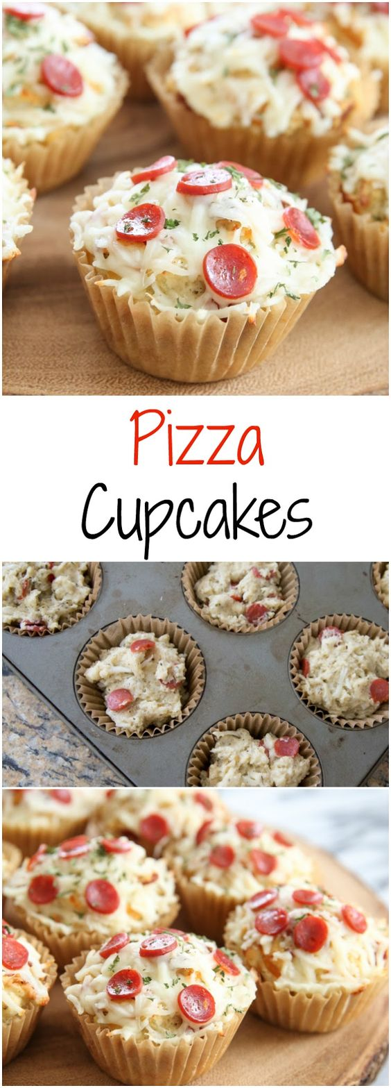 Pizza Cupcakes. Savory pizza flavored muffins dressed up to look like cupcakes! A fun and easy snack, great for parties!!!