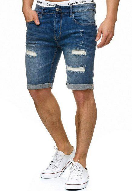 Herren Jogging Denim Shorts Freizeit Bermuda Destroyed kurze Hose Sweat Jeans