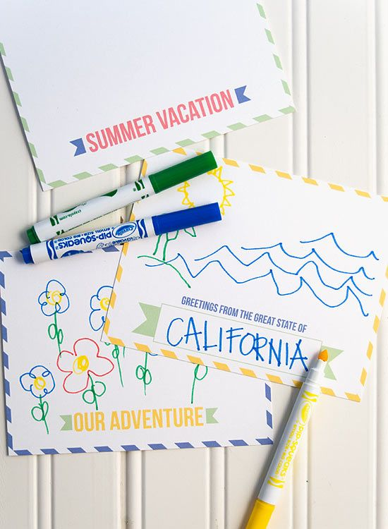 Free printable summer vacation postcards - have your kids draw - printable postcard template free