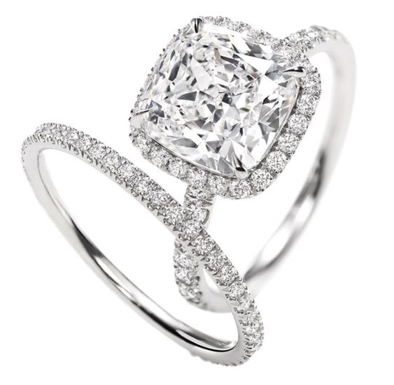 Harry Winston Cushion Cut Micropavé diamond engagement ring and wedding band. Irresistible!