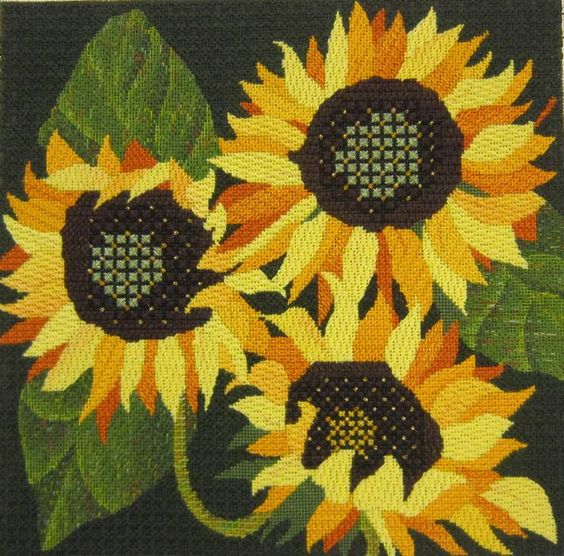 Giant Sunflowers stitched on canvas.  Beautiful design and colors