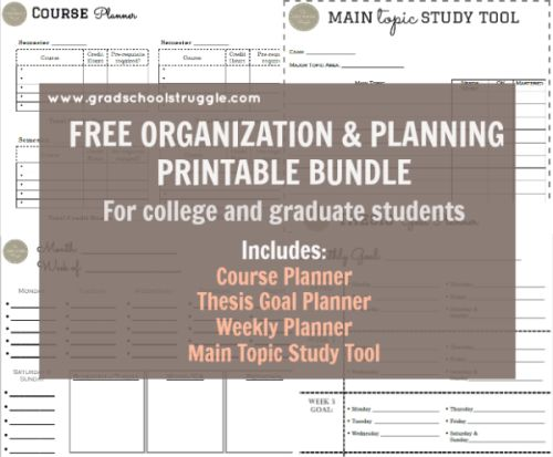 FREE Organization & Planning Printable Bundle - The Grad School Struggle