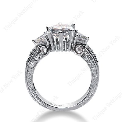 Engagement ring: 3 stone, art deco band-LOVE
