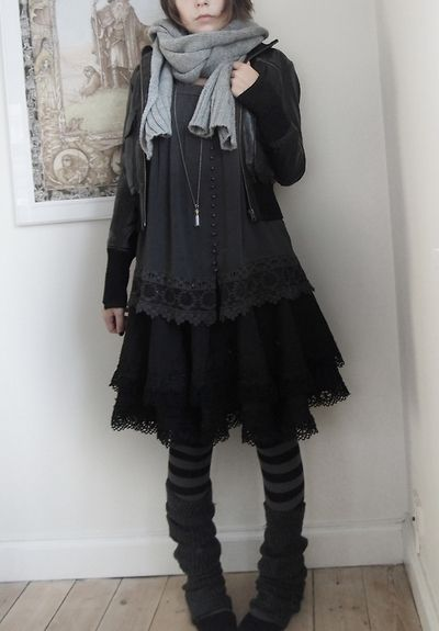 Dark Mori | all black knee length layered dress   grey scarf   jacket   stripes tights   leg warmers   necklace | fall winter style Please visit our website @ www.steampunkvapemod.com