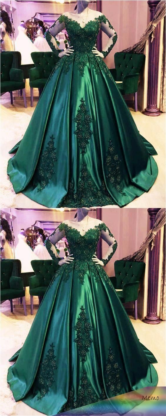 Dark green ball gown #emerald green prom dress #ball gown wedding