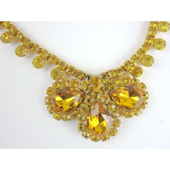Vintage Citrine Yellow Rhinestone Choker Bib Necklace Earring Set... ($73) ❤ liked on Polyvore featuring jewelry
