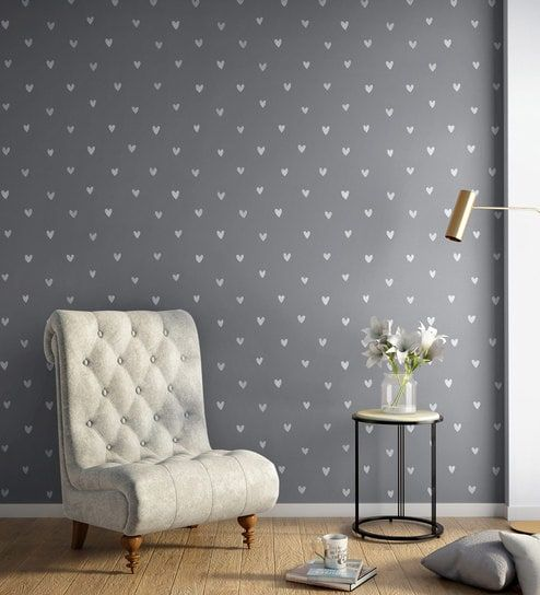 Buy White Grey Happy Hearts Wallpaper Nilaya Wall Coverings By Asian Paints Online Pattern Textures Wallpapers Furnishings Home Decor Pepperfry Pro Best Bedroom Paint Colors Interior Wall Colors Asian Paints