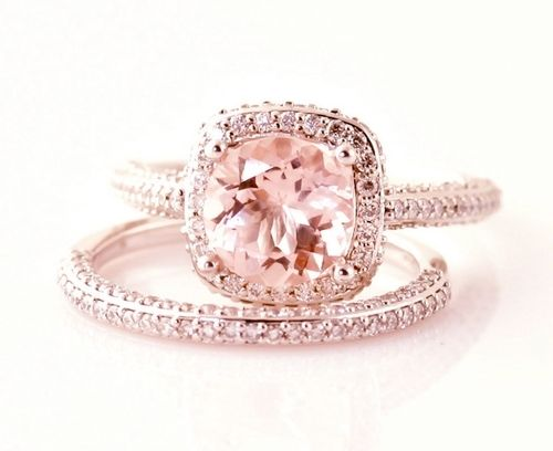 Morganite pink engagement diamond ring - rings.  I wouldn't want the pink center one though. I just love rose gold