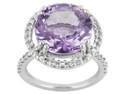 5.90ct Round Rose De France Pink Amethyst With .59ctw Round White Topaz S/S Ring